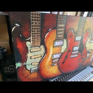 Large painting electric guitars